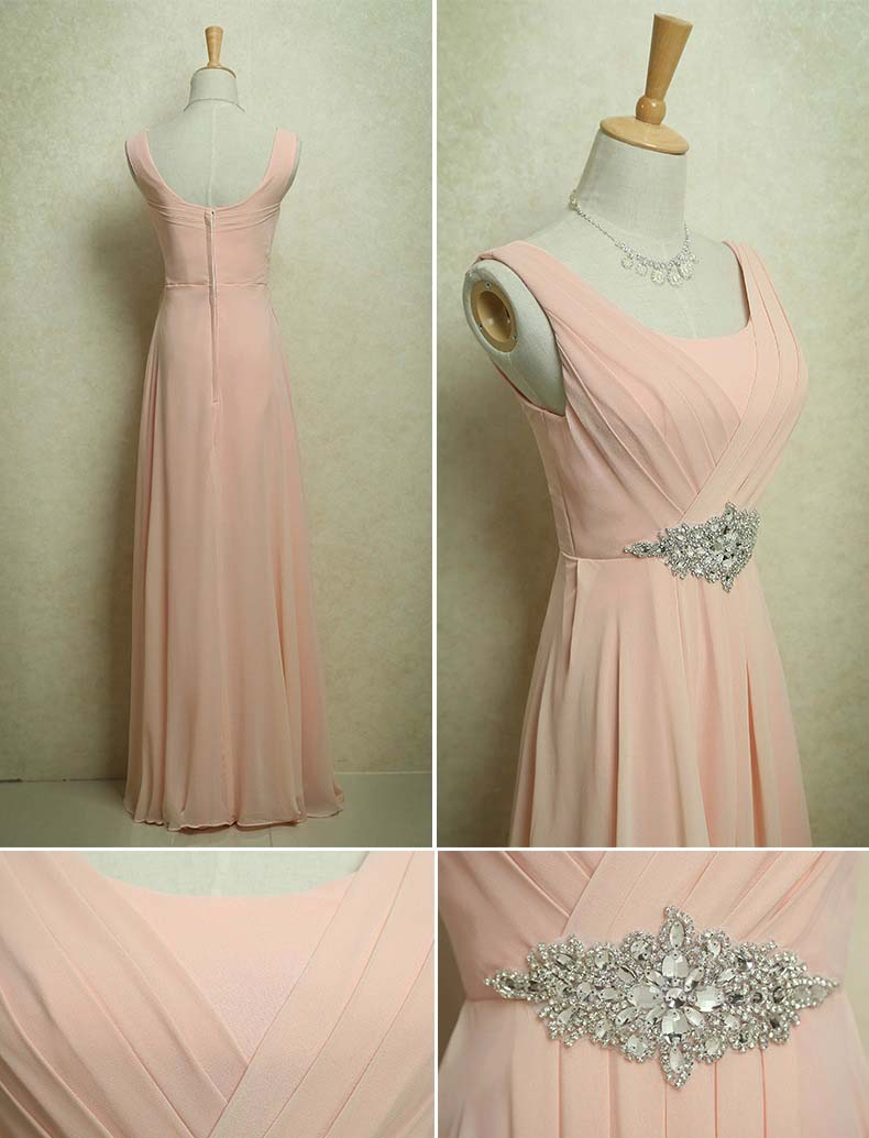 109851c97c8 Light pink peach beige 80S 50S Vintage elegant glam floor length long round  neck straps crystals on waist edgy chiffon woman formal evening dress