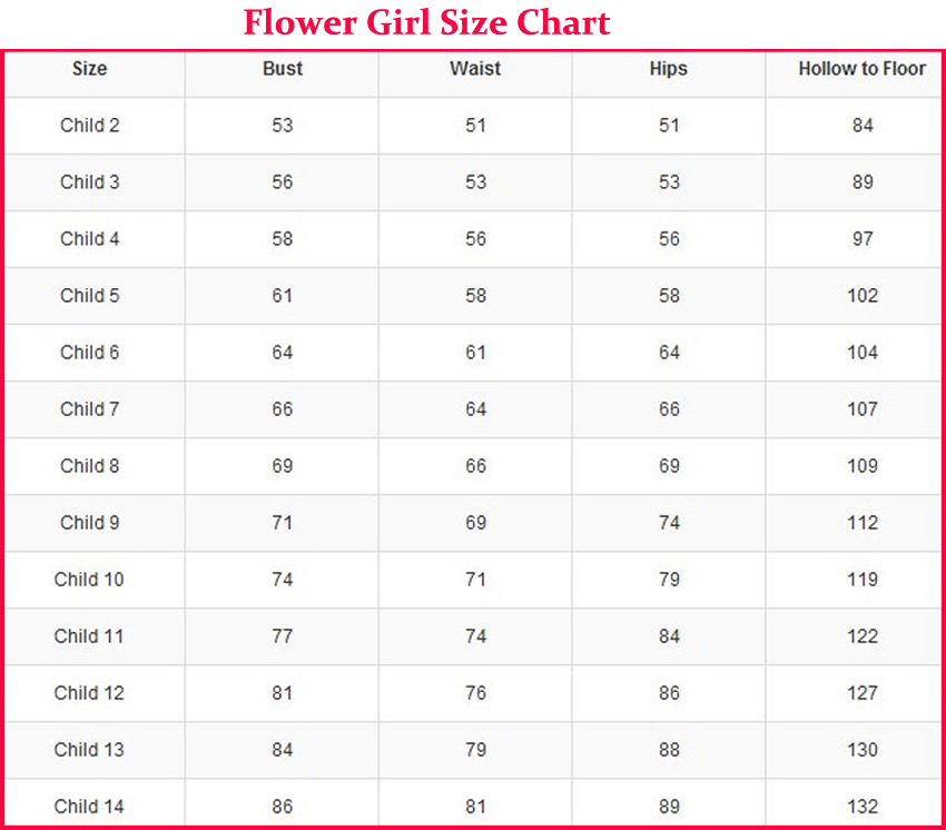 Flower Girl Pageant Girl Standard Size Chart And Custom Size Chart