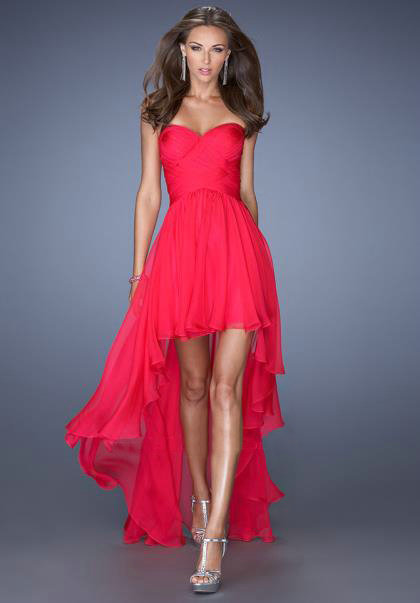 0ad1b73976a Asymmetric front short long back tea length high low sweetheart strapless  A-line hot pink junior teen girl chiffon woman formal pageant dress